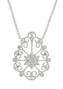 A sparkling diamond frosted flower is framed in vines of curling filigree on the face of this 14K white gold pendant