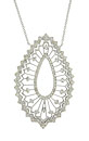 A lacy open filigree frosted with fine faceted diamonds forms the surface of this 14K white gold pendant necklace