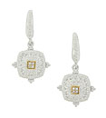 These glorious sterling silver antique style earrings are frosted in sparkling milgrain decorations