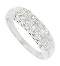 Two rows of sparkling round cut diamond glow from the face of this 14K White gold diamond wedding band