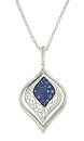 An elegant marquis figure frosted in deep blue faceted sapphires is the focus of this antique style pendant necklace