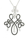 Intricate scrollwork fashioned of 14K white gold and set with fine faceted white and black diamonds adorns this spectacular antique style pendant