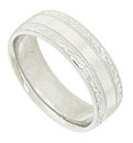 This 14K white gold mens wedding band features a wide smooth polished central band