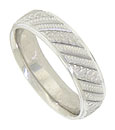 This 14K white gold mens wedding band features a repeating pattern of diagonal engraved ribbons