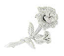 This romantic rose shaped pin is crafted of 14K white gold and frosted with .75 carat total weight of fine faceted diamonds