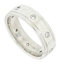 This handsome modern mens wedding band is crafted of 14K white gold and bezel set with round cut diamonds