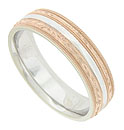 This antique style 14K bi-color mens wedding band is crafted of red and white gold