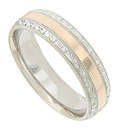 This 14K bi-color mens wedding band features a wide smooth polished red gold central band