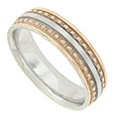 A strip of matte finished white gold is flanked by red gold beads on this 14K bi-color modern men's wedding band