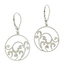 These delicate hoop earrings feature vines of sterling silver covered with curling diamond frosted leaves
