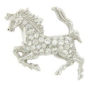 A sparkling 14K white gold stallion is the subject of this antique style pendant