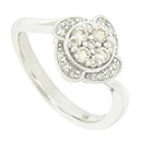 A dazzling .32 carat total weight of round cut diamonds is set into this sparkling engagement ring