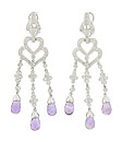 Faceted amethyst briolettes dangle from a trio of floral inspired diamond set figures on these estate earrings
