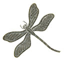 This always popular dragon fly pin of sterling silver and marcasite features moveable wings