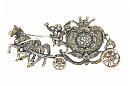 This sterling silver and marcasite watch pin features a horse drawn coach