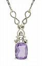 A gorgeous faceted amethyst is the focus of this elegant sterling silver necklace