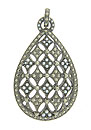 This lovely antique style sterling silver pendant is decorated with quartets of seed pearls and faceted marcasite
