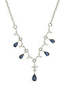 Deep blue teardrop cut sapphires and fine faceted diamonds dangle from simple round links on this 14K white gold necklace