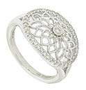 Spectacular starburst filigree adorns the surface of this glorious antique style ring