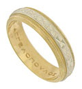 A deeply impressed cross hatch pattern adorns the center band of this 18K bi-color wedding band