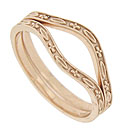 Floral and marquis patterns alternate across these 14K red gold curved wedding bands
