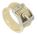 This distinctive 14K bi-color wedding band is fashioned in the form of a buckle and belt