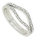 These curved 14K white gold antique style wedding bands are covered with impressed vines and berries