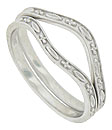 Floral and marquis patterns alternate across these 14K white gold curved wedding bands