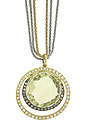A sparkling round cut lemon quartz glows from the face of this antique style pendant/necklace