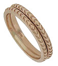 These distinctive 14K rose gold stackable wedding bands are adorned with abstract organic decorations and measure 1.80 mm in width