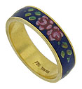 "Breathtaking ""Emaux Peints"" handpainted enamel adorns the surface of this 18K yellow gold estate wedding band"