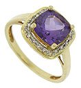 This sparkling estate ring features a deep violet square cut amethyst framed by fine faceted diamonds