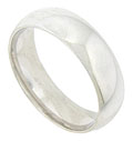 This smooth, brightly polished mens wedding band is crafted of 14K white gold and measures 6.18 mm in width