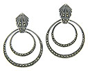 These sterling silver and marcasite embellished earrings are fashioned in concentric circles dangling from an Art Deco inspired prism