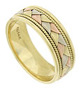 This elegant 14K tri-colored mens wedding band features flat ribbons of red, yellow and white gold braided into a single colorful figure