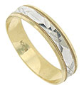 A faceted white gold central design adorns the center of this 10K bi-color mens wedding band
