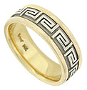 This handsome 14K bi-color wedding band features a yellow gold band