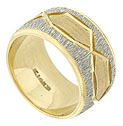 This handsome 14K bi-color wedding band has a yellow gold band frosted with abstract white gold etching