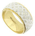 This handsome 14K bi-color estate wedding band features a white gold textured central band engraved with deep diagonal crosshatching