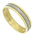 This handsome 14K bi-color mens wedding ring features a pebble surfaced white gold central band