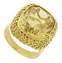 A fantastic square cut citrine is the star of this 18K yellow gold ring