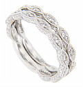 This 14K white gold antique style wedding band is set with .25 carats total weight of diamonds