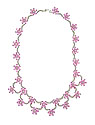 Swags of sparkling diamonds and pastel pink sapphire blooms pirouette across the surface of this breathtaking estate necklace