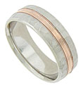 This handsome wedding band is fashioned of 14K white gold with a simple ribbon of rose gold at the center