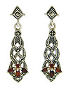 These elegant dangle earrings are fashioned of marcasite and sterling silver