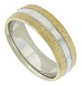 This handsome wedding band is fashioned of 14K white gold with a simple ribbon of yellow gold at the center