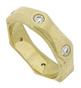 Softly impressed edges and satin finish give added dimension to this handsome 14K yellow gold wedding band