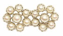 This 14K white gold estate pearl pin has 16 lustrous cultured pearls set in a double flower pattern