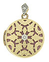 Intricate floral cutwork frosted with milgrain adorns the face of this magnificent 14K yellow gold locket