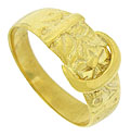 This distinctive antique wedding band is fashioned the shape of a belt and adorned with abstract floral engraving